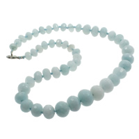 Dyed Marble Necklace, zinc alloy lobster clasp, Rondelle, faceted, skyblue, 10-16mm, Sold Per Approx 20.5 Inch Strand
