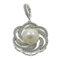 Freshwater Pearl Pendants, with Brass, Flower, silver color plated, natural & micro pave cubic zirconia, white, 13-14mm, 26x46x12mm, Hole:Approx 7x10mm, Sold By PC