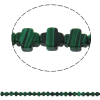Malachite Beads, Cross, 8x4mm, Hole:Approx 1mm, 50PCs/Strand, Sold Per Approx 16 Inch Strand