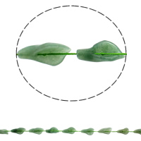 Natural Aventurine Beads, Green Aventurine, Leaf, 16x28x8mm, Hole:Approx 1mm, Approx 12PCs/Strand, Sold Per Approx 16.5 Inch Strand