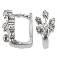 Zinc Alloy Pinch Bail, platinum color plated, with rhinestone, lead & cadmium free, 8x14mm, Hole:Approx 5x7mm, Sold By PC
