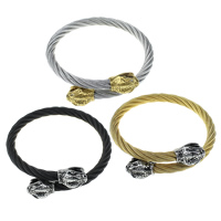 Stainless Steel Bangle, Snake, plated, adjustable & with rhinestone & blacken, more colors for choice, 17x12x12mm, 6mm, Inner Diameter:Approx 58x58mm, Length:Approx 7 Inch, Sold By PC