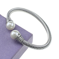 Stainless Steel Cuff Bangle, with Plastic Pearl, original color, 12mm, 6mm, Inner Diameter:Approx 62x51mm, Length:Approx 7 Inch, Sold By PC