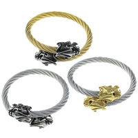 Stainless Steel Bangle, Dragon, plated, adjustable & blacken, more colors for choice, 23x16x15mm, 6mm, Inner Diameter:Approx 57x57mm, Length:Approx 7 Inch, Sold By PC