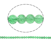 Crackle Glass Beads, Round, green, 10mm, Hole:Approx 2mm, Length:Approx 31 Inch, 10Strands/Bag, Sold By Bag