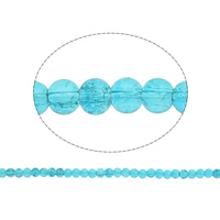 Crackle Glass Beads, Round, blue, 6mm, Hole:Approx 1.5mm, Length:31 Inch, 10Strands/Bag, Sold By Bag