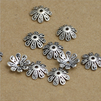 Thailand Sterling Silver Bead Caps, 10mm, Hole:Approx 1-3mm, 50PCs/Lot, Sold By Lot
