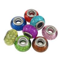 пластик бусины Европейская стиль, Цилиндрическая форма, Платиновое покрытие платиновым цвет, латунные Двухместный ядро без Тролль, Много цветов для выбора, не содержит никель, свинец, 9x14mm, отверстие:Приблизительно 5mm, 200ПК/Лот, продается Лот