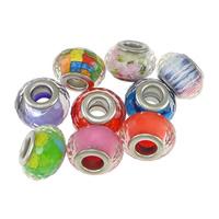 пластик бусины Европейская стиль, Цилиндрическая форма, Платиновое покрытие платиновым цвет, латунные Двухместный ядро без Тролль & граненый, Много цветов для выбора, не содержит никель, свинец, 9x14mm, отверстие:Приблизительно 5mm, 200ПК/Лот, продается Лот