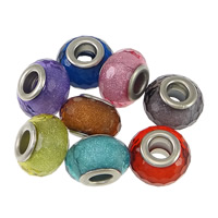 Plastic European Bead, Drum, platinum color plated, brass double core without troll & faceted & silver powder, more colors for choice, nickel, lead & cadmium free, 9x14mm, Hole:Approx 5mm, 200PCs/Lot, Sold By Lot