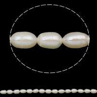 Rice Cultured Freshwater Pearl Beads, natural, white, Grade A, 6-7mm, Hole:Approx 0.8mm, Sold Per Approx 14 Inch Strand