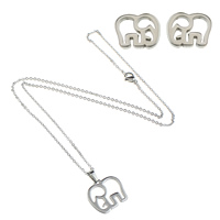 Fashion Stainless Steel Jewelry Sets, earring & necklace, Elephant, oval chain, original color, 18.5x17x1.5mm, 10.5x9x11.5mm, 1.5mm, Length:Approx 18 Inch, Sold By Set