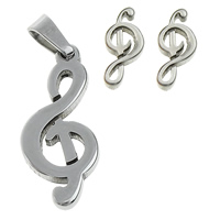 Fashion Stainless Steel Jewelry Sets, pendant & earring, Music Note, original color, 9.5x22x2mm, 5x11x12mm, Hole:Approx 3x5mm, Sold By Set