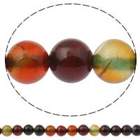 Natuurlijke Crackle Agaat parels, Ronde, verschillende grootte voor keus, multi-gekleurde, Gat:Ca 1mm, Lengte:Ca 15 inch, Verkocht door Lot