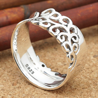 Thailand Sterling Silver Cuff Finger Ring, adjustable, 8mm, Hole:Approx 2mm, US Ring Size:8, 5PCs/Lot, Sold By Lot