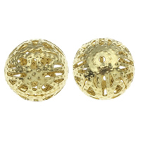 Iron Jewelry Beads, Round, gold color plated, hollow, nickel, lead & cadmium free, 13mm, Hole:Approx 1mm, 1000PCs/Bag, Sold By Bag