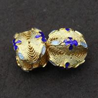 Cloisonne kulki srebrne, Cloisonne srebro, Platerowane prawdziwym złotem, 15x12mm, otwór:około 1.5mm, 3komputery/wiele, sprzedane przez wiele
