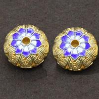 Cloisonne kulki srebrne, Cloisonne srebro, Płaskie koło, Platerowane prawdziwym złotem, pusty, 16x10mm, otwór:około 2.5mm, 3komputery/wiele, sprzedane przez wiele