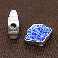 Cloisonne kulki srebrne, Cloisonne srebro, 14x10x5.50mm, otwór:około 2.5mm, 3komputery/wiele, sprzedane przez wiele