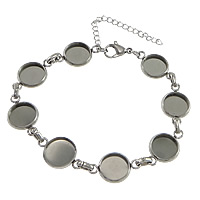 Stainless Steel Bracelet Setting, with 2lnch extender chain, original color, 19.50x12.50x2.50mm, Inner Diameter:Approx 10mm, Length:Approx 7.5 Inch, 50Strands/Lot, Sold By Lot