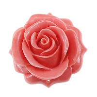 Fluted Giant Connector, Flower, Carved, 1/1 loop, pink, 49x48x19.50mm, Hole:Approx 1.5mm, 3PCs/Lot, Sold By Lot
