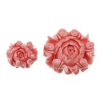 Karbowany olbrzymi Wisior, Rzeźbiony gigant, Kwiat, Rzeźbione, różnej wielkości do wyboru, różowy, otwór:około 1.5mm, sprzedane przez wiele
