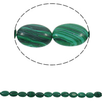 Malachite Beads, Flat Oval, 13x18x5mm, Hole:Approx 1.5mm, Approx 22PCs/Strand, Sold Per Approx 15.3 Inch Strand