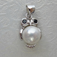 South Sea Shell Pendant 925 Sterling Silver with South Sea Shell Owl with rhinestone 16mm Hole:Approx 3mm 5PCs/Lot