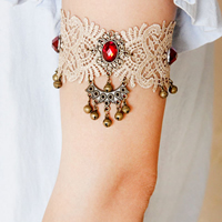 Gothic Armlet, Lace, with Nylon Cord & Resin & Zinc Alloy, with 2lnch extender chain, plated, gothic style & with bell & faceted & with rhinestone, 50mm, Sold Per 7 Inch Strand