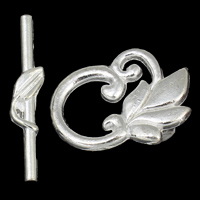 Zinc Alloy Toggle Clasp, Leaf, silver color plated, single-strand, nickel, lead & cadmium free, 19x25x2mm, 30x6x2.5mm, Hole:Approx 1mm, 20Sets/Lot, Sold By Lot