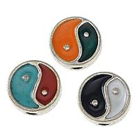 Imitacja cynku Cloisonne kulki stopu, Stop cynku, Płaskie koło, Platerowane w kolorze srebra, Emalia dwustronny & imitacja cloisonne & Tai Ji & przyczerniony, dostępnych więcej kolorów, bez zawartości niklu, ołowiu i kadmu, 8x8x3.50mm, otwór:około 1.5mm, 100komputery/wiele, sprzedane przez wiele