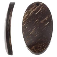 Кокос подвески, скорлупа кокосового ореха, Плоская овальная форма, натуральный, оригинальный цвет, 25x47x6mm, отверстие:Приблизительно 3mm, 100ПК/сумка, продается сумка