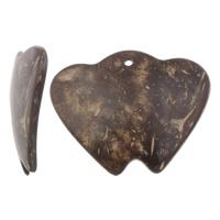 Кокос подвески, скорлупа кокосового ореха, Сердце, натуральный, оригинальный цвет, 59x46x5mm, отверстие:Приблизительно 5mm, 50ПК/сумка, продается сумка