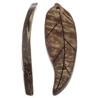 Coconut Pendants, Coco, Leaf, natural, original color, 17x50x6mm, Hole:Approx 1mm, 100PCs/Bag, Sold By Bag