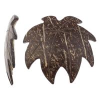 Кокос подвески, скорлупа кокосового ореха, Листок, натуральный, оригинальный цвет, 48x46x5mm, отверстие:Приблизительно 2mm, 100ПК/сумка, продается сумка