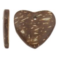 Кокос подвески, скорлупа кокосового ореха, Сердце, натуральный, оригинальный цвет, 20x19x4mm, отверстие:Приблизительно 1mm, 1000ПК/сумка, продается сумка