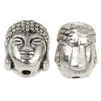 Buddhist Beads, Zinc Alloy, Buddha, antique silver color plated, lead & cadmium free, 8.50x10x8mm, Hole:Approx 1mm, 10PCs/Bag, Sold By Bag