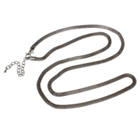 Iron Necklace Chain, with 7cm extender chain, plumbum black color plated, mesh chain, nickel, lead & cadmium free, 4mm, Sold Per Approx 29 Inch Strand