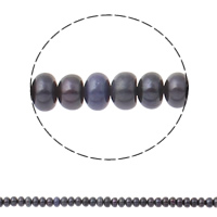 Button Cultured Freshwater Pearl Beads, Rondelle, blue black, 5-6mm, Hole:Approx 0.8mm, Sold Per Approx 14.5 Inch Strand