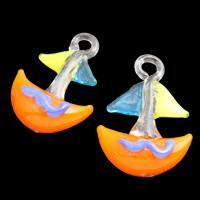 Fashion Lampwork Medálok, Horgony, kézi, tengeri minta, több színt a választás, 20x36x11mm-23x32.5x10mm, Lyuk:Kb 4mm, 10PC-k/Bag, Által értékesített Bag
