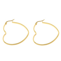 Stainless Steel Hoop Earring, Heart, gold color plated, 41x43x3mm, Sold By Pair