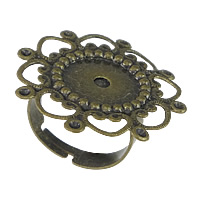 Brass Bezel Ring Base, Flower, antique bronze color plated, adjustable, nickel, lead & cadmium free, 28mm, Inner Diameter:Approx 1mm, US Ring Size:6, 100PCs/Lot, Sold By Lot