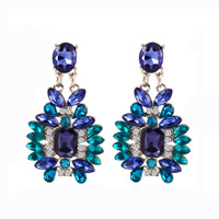 Fashion Statement Earring Zinc Alloy with Crystal iron post pin platinum color plated faceted   with rhinestone nickel lead   cadmium free 25x46mm