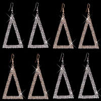 Zinc Alloy Earrings, iron earring hook, Triangle, plated, with rhinestone, more colors for choice, nickel, lead & cadmium free, 35x85mm, Sold By Pair