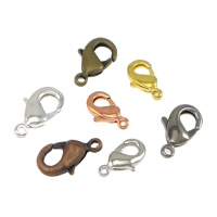 Brass Lobster Clasp, plated, different size for choice, more colors for choice, 100PCs/Bag, Sold By Bag