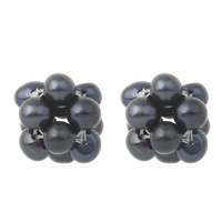 Ball Cluster Cultured Pearl Beads, Freshwater Pearl, Potato, black, 12x15mm, Hole:Approx 2mm, Sold By PC