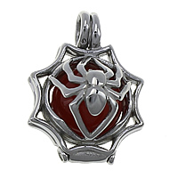 Pregnant Ball Locket Pendant, Stainless Steel, with Red Agate, hollow, 20x27x16.5mm, 12mm, Hole:Approx 4.5mm, 6PCs/Lot, Sold By Lot