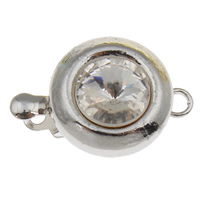 Brass Box Clasp, Flat Round, platinum color plated, with glass rhinestone & single-strand, nickel, lead & cadmium free, 12x16x8mm, Hole:Approx 2mm, 10PCs/Bag, Sold By Bag