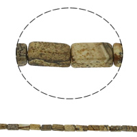 Natural Picture Jasper Beads, Rectangle, 6x12x4mm, Hole:Approx 1.5mm, Approx 33PCs/Strand, Sold Per Approx 15.7 Inch Strand