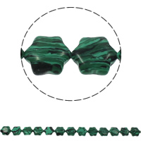 Malachite Beads, Flower, 13x15x5mm, Hole:Approx 1.5mm, Approx 28PCs/Strand, Sold Per Approx 15.7 Inch Strand